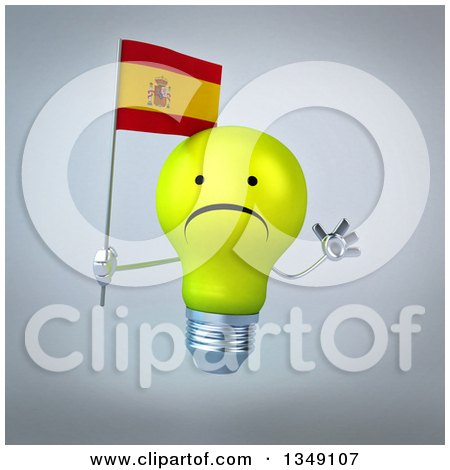 Clipart of a 3d Unhappy Yellow Light Bulb Character Holding a Spanish Flag and Jumping, over Gray - Royalty Free Illustration by Julos