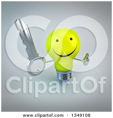 Clipart of a 3d Happy Yellow Light Bulb Character Holding up a Thumb and a Key, over Gray - Royalty Free Illustration by Julos