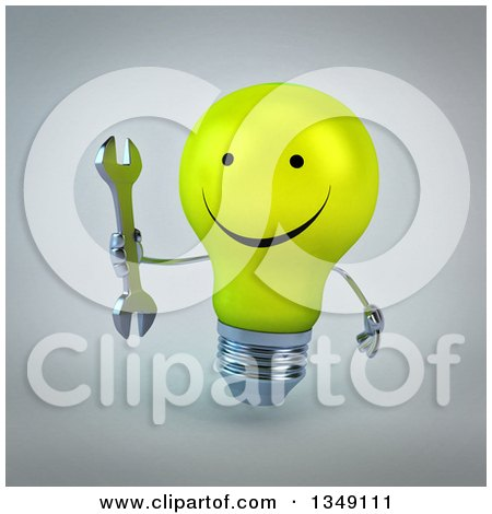 Clipart of a 3d Happy Yellow Light Bulb Character Holding a Wrench, over Gray - Royalty Free Illustration by Julos