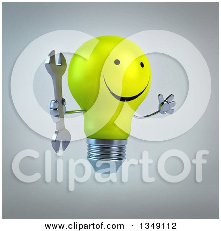 Clipart of a 3d Happy Yellow Light Bulb Character Jumping and Holding a Wrench, over Gray - Royalty Free Illustration by Julos