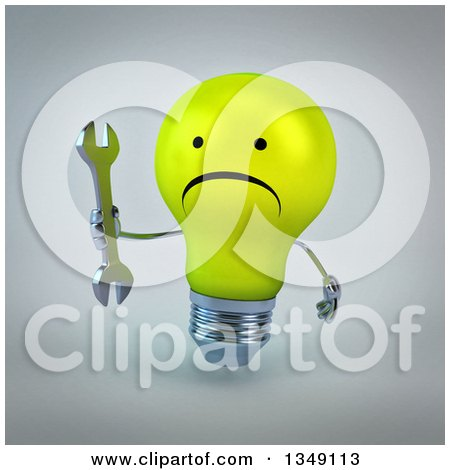Clipart of a 3d Unhappy Yellow Light Bulb Character Holding a Wrench, over Gray - Royalty Free Illustration by Julos