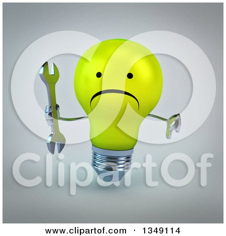 Clipart of a 3d Unhappy Yellow Light Bulb Character Holding a Wrench and Giving a Thumb Down, over Gray - Royalty Free Illustration by Julos