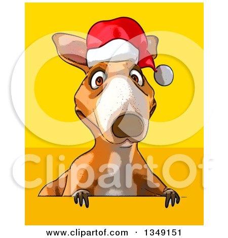 Christmas Kangaroo Cartoon.Cartoon Christmas Kangaroo Wearing A Santa Hat Over A Sign