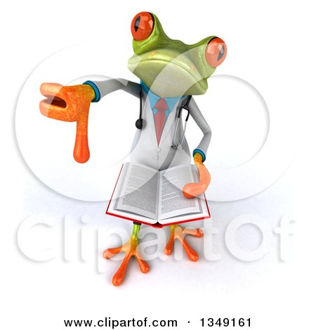 Clipart of a 3d Green Doctor Springer Frog Holding up a Thumb down and a Book - Royalty Free Illustration by Julos