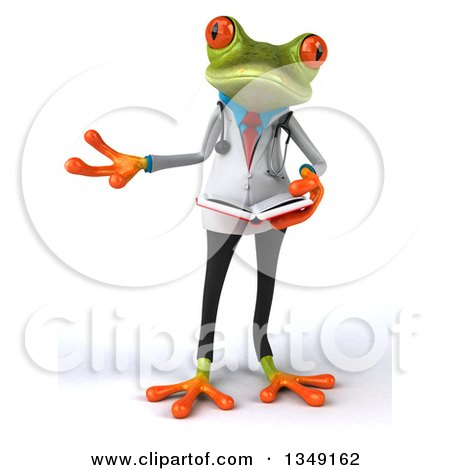Clipart of a 3d Green Doctor Springer Frog Presenting and Holding a Book - Royalty Free Illustration by Julos