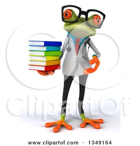 Clipart of a 3d Bespectacled Green Doctor Springer Frog Holding a Stack of Books - Royalty Free Illustration by Julos