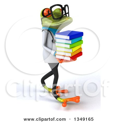 Clipart of a 3d Bespectacled Green Doctor Springer Frog Walking and Holding a Stack of Books - Royalty Free Illustration by Julos