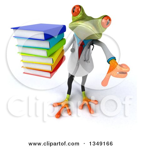 Clipart of a 3d Green Doctor Springer Frog Holding up a Thumb down and Stack of Books - Royalty Free Illustration by Julos