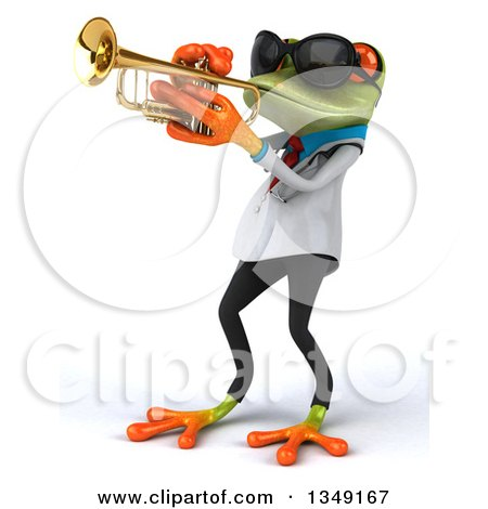 Clipart of a 3d Green Doctor Springer Frog Wearing Sunglasses and Playing a Trumpet, Facing Left - Royalty Free Illustration by Julos