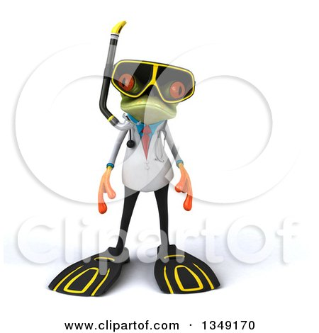 Clipart of a 3d Green Doctor Springer Frog in Snorkel Gear - Royalty Free Illustration by Julos