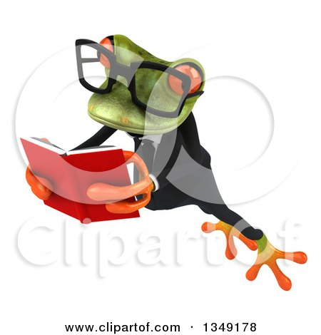 Clipart of a 3d Bespectacled Green Business Springer Frog Leaping to the Left and Reading a Book - Royalty Free Illustration by Julos