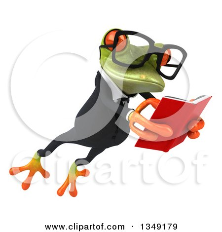 Clipart of a 3d Bespectacled Green Business Springer Frog Leaping to the Right and Reading a Book - Royalty Free Illustration by Julos