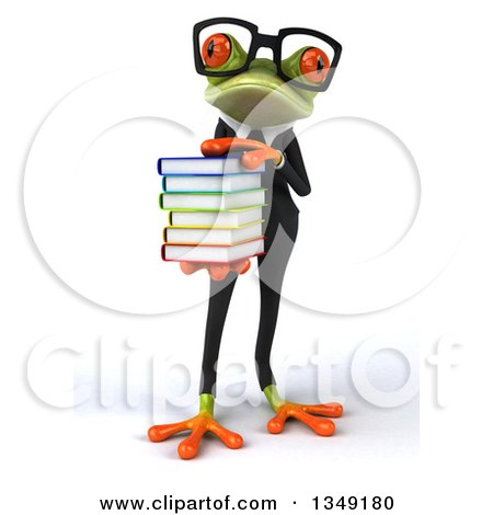 Clipart of a 3d Bespectacled Green Business Springer Frog Holding a Stack of Books - Royalty Free Illustration by Julos