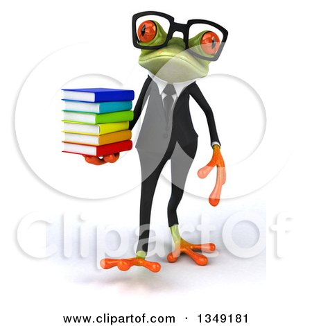 Clipart of a 3d Bespectacled Green Business Springer Frog Walking and Holding a Stack of Books - Royalty Free Illustration by Julos