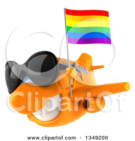 Clipart of a 3d Happy Orange Airplane Wearing Sunglasses and Flying to the Left with a LGBT Rainbow Flag - Royalty Free Illustration by Julos