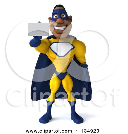 Clipart of a 3d Muscular Black Male Super Hero in a Yellow and Blue Suit, Holding out a Business Card - Royalty Free Illustration by Julos