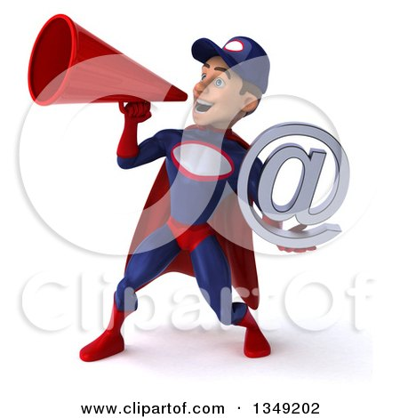 Clipart of a 3d Young White Male Super Hero Mechanic in Red and Dark Blue, Holding an Email Arobase at Symbol and Using a Megaphone - Royalty Free Illustration by Julos