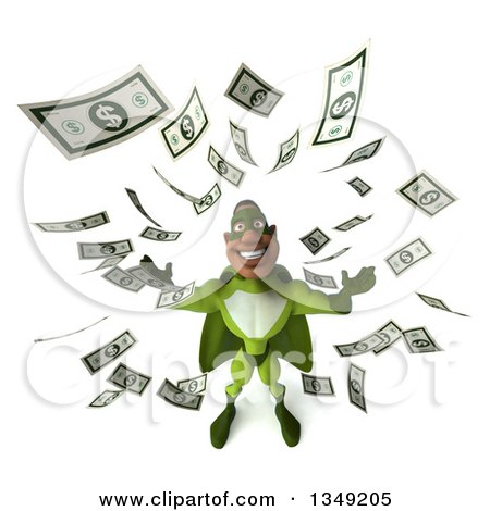 Clipart of a 3d Buff Male Black Super Hero in Green, with Falling Cash Money - Royalty Free Illustration by Julos