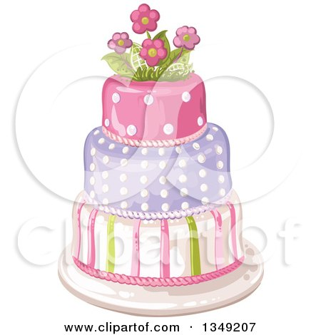 Clipart of a Beautiful Three Tiered Striped and Polka Dot Birthday Cake Topped with Flowers - Royalty Free Vector Illustration by merlinul