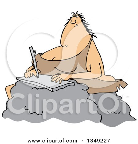Clipart of a Cartoon Chubby Cave Woman Writing on a Boulder - Royalty Free Vector Illustration by djart