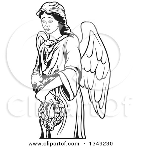 Clipart of a Black and White Female Angel Holding a Wreath - Royalty Free Vector Illustration by dero