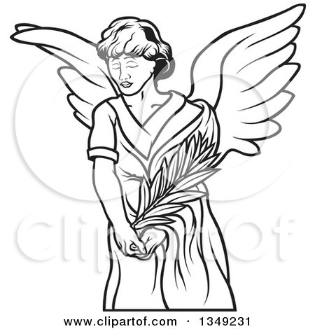 Clipart of a Black and White Female Angel Holding a Branch - Royalty Free Vector Illustration by dero