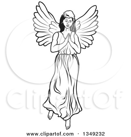 Clipart Of A Black And White Angel Playing A Flute 2 Royalty Free Vector Illustration By Dero 1292427