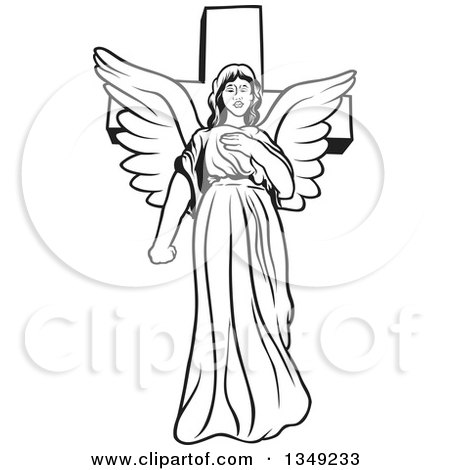 Clipart of a Black and White Female Angel in Front of a Cross - Royalty Free Vector Illustration by dero