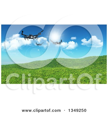 Clipart of 3d Metal Quadcopter Drones Flying over Grassy Hills and Sky - Royalty Free Illustration by KJ Pargeter