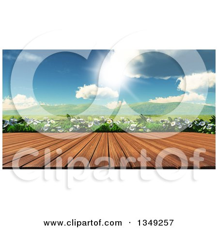 Clipart of a 3d Wood Table or Deck Against Daisies and a Sunny Valley - Royalty Free Illustration by KJ Pargeter
