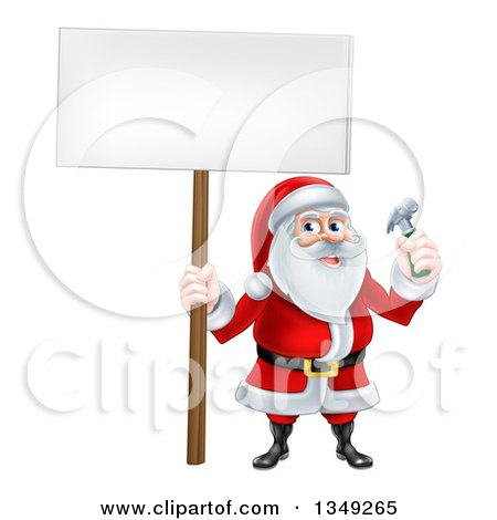 Clipart of a Happy Christmas Santa Claus Carpenter Holding a Hammer and Blank Sign 6 - Royalty Free Vector Illustration by AtStockIllustration