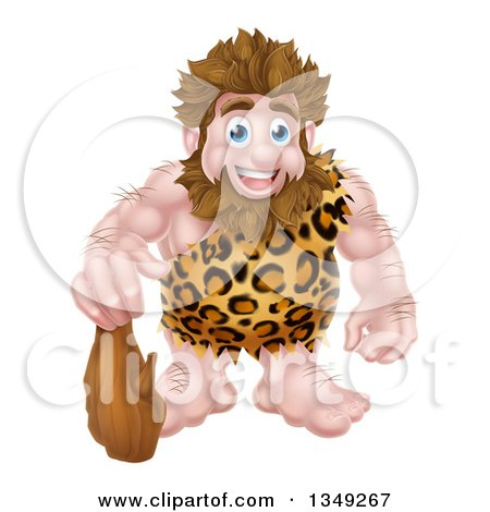 Clipart of a Cartoon Muscular Happy Caveman Standing with a Club - Royalty Free Vector Illustration by AtStockIllustration