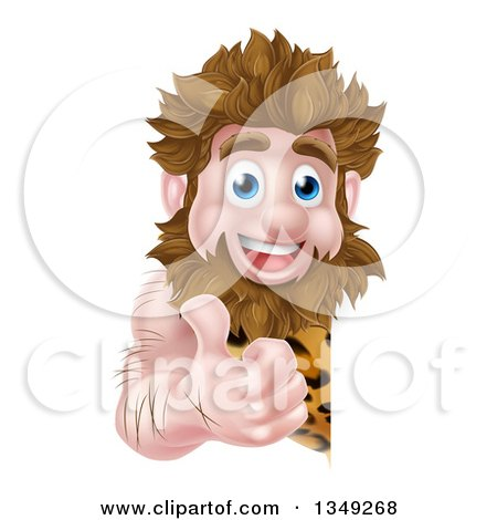 Clipart of a Cartoon Happy Caveman Giving a Thumb up Around a Sign - Royalty Free Vector Illustration by AtStockIllustration