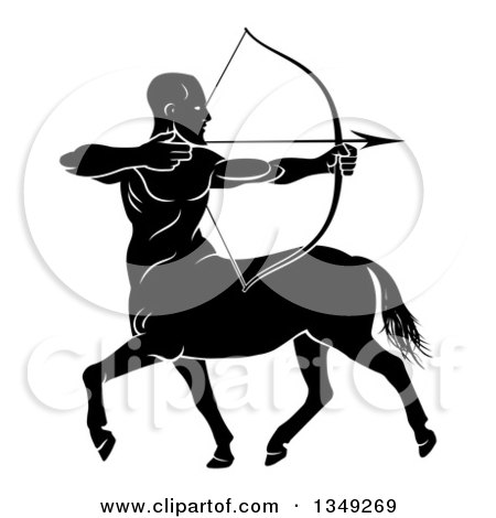 Clipart of a Black and White Centaur Archer, Half Man, Half Horse, Aiming to the Right - Royalty Free Vector Illustration by AtStockIllustration