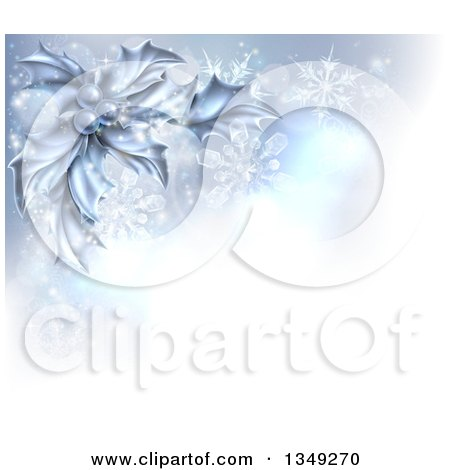 Clipart of a Christmas Background of Frozen Holly, Berries, Snowflakes and Flares with a Corner of Text Space - Royalty Free Vector Illustration by AtStockIllustration