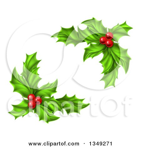 Clipart of Green Holly Leaves and Christmas Berries - Royalty Free Vector Illustration by AtStockIllustration