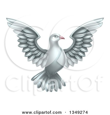 Clipart of a Flying White Peace Dove - Royalty Free Vector Illustration by AtStockIllustration