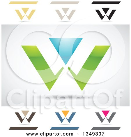 Clipart of Abstract Letter W Logo Design Elements - Royalty Free Vector Illustration by cidepix