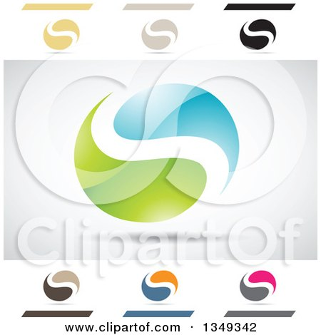 Clipart of Abstract Letter S Logo Design Elements - Royalty Free Vector Illustration by cidepix