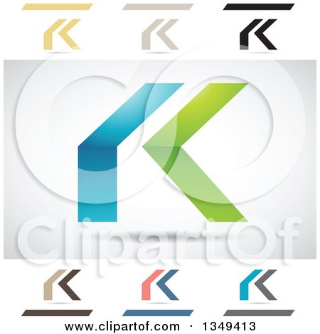 Clipart of Abstract Letter K Logo Design Elements - Royalty Free Vector Illustration by cidepix