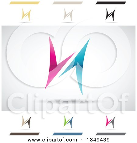 Clipart of Abstract Letter H Logo Design Elements - Royalty Free Vector Illustration by cidepix