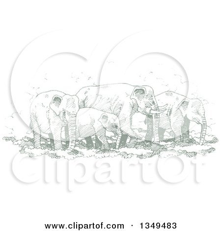 Clipart of a Green Sketched Hand Drawn Herd of Elephants - Royalty Free Vector Illustration by Lal Perera