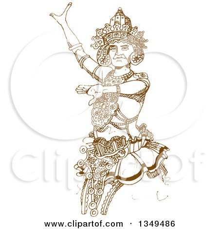 Clipart of a Brown Sketched Hand Drawn Kandyan Dancer - Royalty Free Vector Illustration by Lal Perera