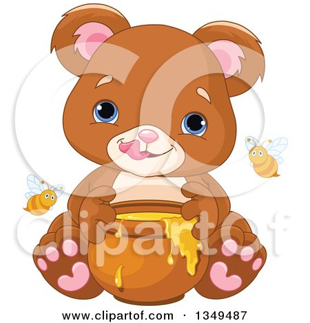 Clipart of a Cute Baby Bear Cub Eating Honey, with Bees - Royalty Free Vector Illustration by Pushkin