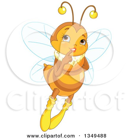 Clipart of a Flying and Thinking Flirty Female Bee - Royalty Free Vector Illustration by Pushkin