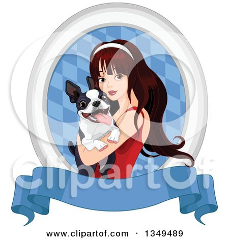 Clipart of a Beautiful Brunette Caucasian Woman Holding a Boston Terrier Dog in an Oval of Diamonds over a Blank Blue Banner - Royalty Free Vector Illustration by Pushkin