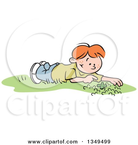 Cartoon Red Haired White Boy Discovering a Four Leaf Clover in a Patch Posters, Art Prints