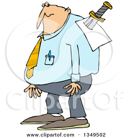 Clipart of a Cartoon Chubby Caucasian Businessman with a Knife in His Back - Royalty Free Vector Illustration by djart