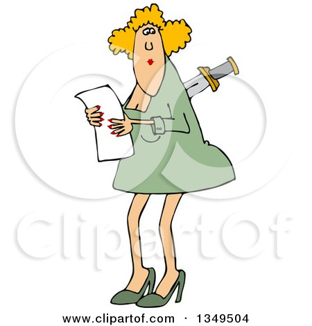 Clipart of a Cartoon Caucasian Business Woman with a Knife in Her Back - Royalty Free Vector Illustration by djart