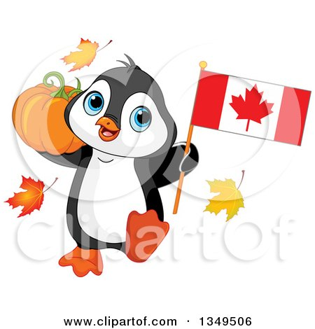 Clipart of a Cute Penguin Holding a Canadian Flag and a Thanksgiving Pumpkin - Royalty Free Vector Illustration by Pushkin